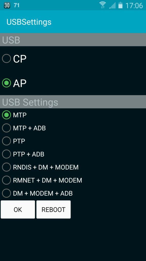 Android USB Menu